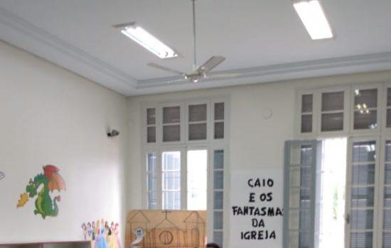 Autor Caio Riter no colégio Dom Bosco